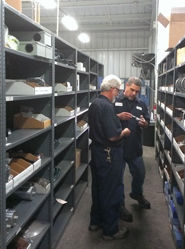 Parts personnel also control other fleet inventory at the City of San Diego. Pictured are Stock Clerk Garry Illig (left) and Parts Supervisor Jim Degler. Photo courtesy of City of San Diego.