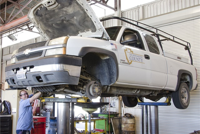 Technicians maintain and repair more than 6,000 vehicles in six fleet facilities. Photo courtesy of San Bernardino County