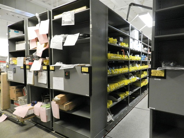 The City of Scottsdale, Ariz., installed mobile shelving units during a parts room renovation, allowing it to significantly increase its parts storage capacity. The shelves move so that only one aisle is open at a time while the other aisles remain closed.