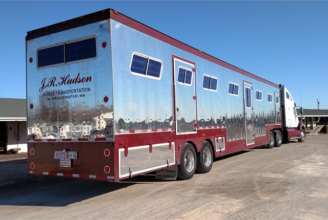 A shiney 53 by 102 van waits to be loaded with 15 horses at the Delaware County (Ohio) Fairgrounds. The Fleet Equine trailer's made mostly of stainless and galvanized steel. Photos: Tom Berg
