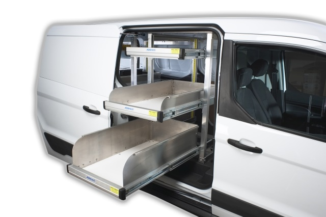 The Katerack system's infinitely adjustable shelves are rated for 300-pounds. The shelves bring the equipment out of the van to offer increased utility and organization to the field technician. (Photo: Dejana)
