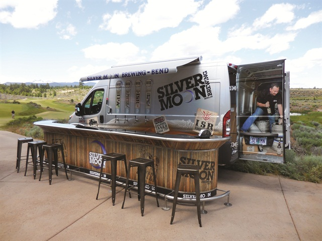 "Silver Moon Brewing created this ""pop-up pub"" to expand its marketing outside of its home base of Bend, Ore."