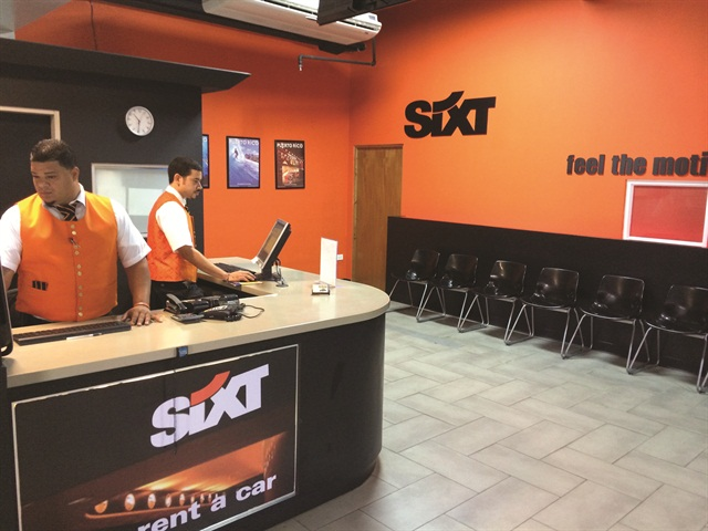 Employees at the temporary location of Sixt's new Puerto Rico franchise, while the new flagship Sixt branch is under construction.
