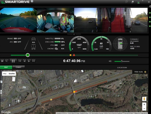 SmartDrive 360 allows up to four cameras to trigger during a risky maneuver or collision, giving fleets a 360 degree view of the event. Screenshot via SmartDrive.