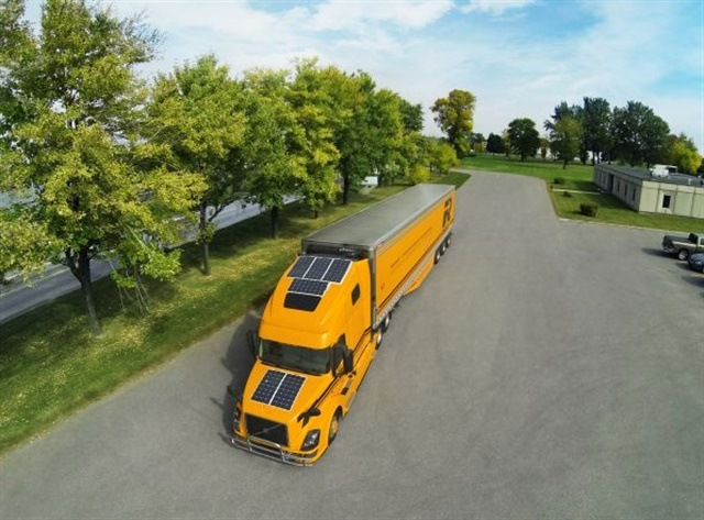 Canada's Groupe Robert is using six solar panels and four deep-cycle batteries to keep drivers comfortable and batteries charged. Photo: Groupe Robert