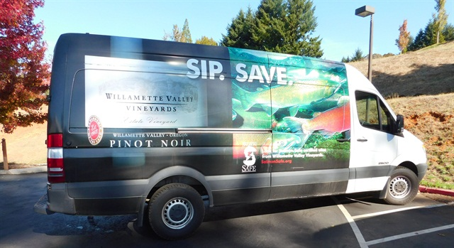 One of Willamette Valley Vineyards' Sprinters that runs on biodiesel fuel.