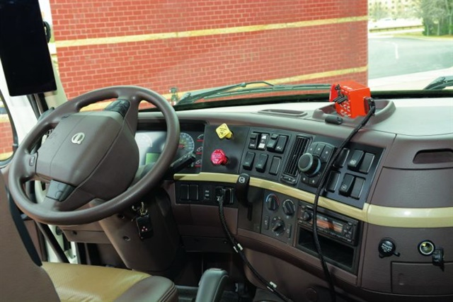 Engineers decided it made no sense to spruce up the interior of the truck because that would not further the efforts to improve freight efficiency. It's a standard VNL 780 cab with a few switches dedicated to the project.
