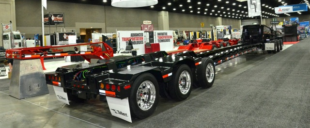 """Two of three modules of a """"3-3-2"""" multi-axle configuration were shown by Talbert in its booth at the Louisville show. Missing is the 2-axle """"booster"""" that would be attached to the rear."""