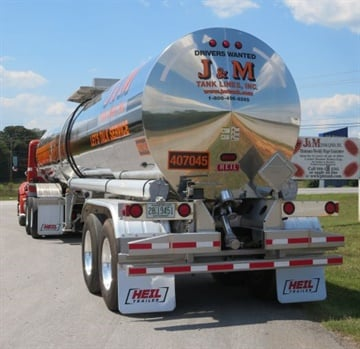 Trailer specs in the same fleet can differ by application and customer. This J&M tanker hauls slurry and glue in the Southeast. Photo by Deborah Lockridge