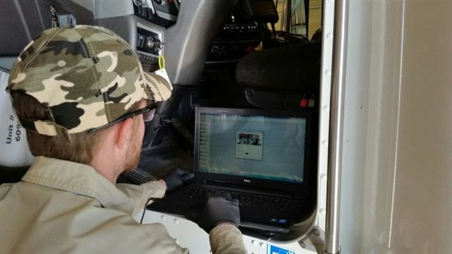 One of the most important tools for a technician today is a computer, like this one in Dillon Transport's shop. Photo: Dillon