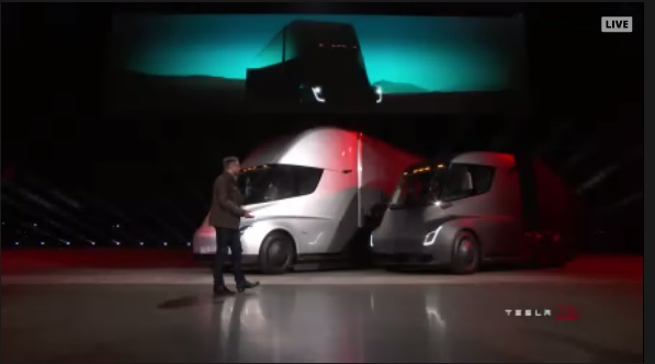 Screen shot from Tesla's live feed unveiling its electric semi.
