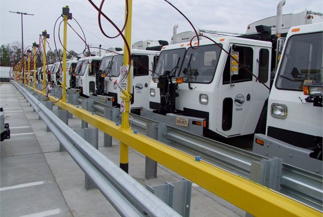 Pictured is a typical Marathon Corporation-designed time-fill barricade for a CNG fuel station.Photo courtesy of Marathon Corporation.