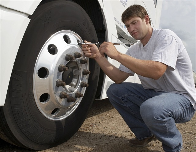 Drivers should perform weekly pressure checks on a truck they are familiar with. Daily checks should be done on any vehicle they don't drive every day. Photo: Michelin