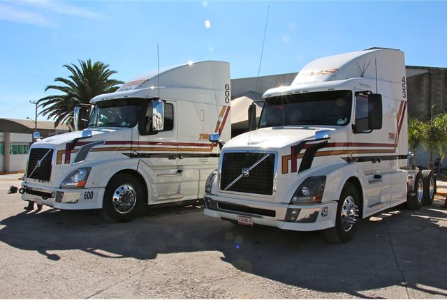 Two of the new Volvo VNL trucks with the I-Shift transmission atTransportes Monroy Schiavon. Photo: Evan Lockridge