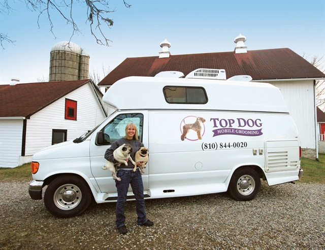 Maureen Hill uses a customized F-350 van to operate her mobile grooming business. Photo courtesy of Ford Commercial Vehicles.