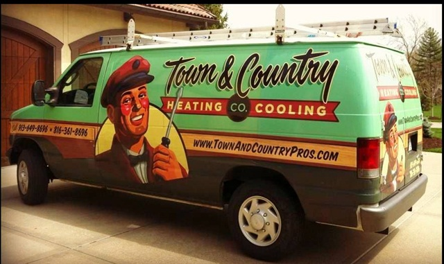 Town & Country's branding was inspired by a furnace logo from the 1940s/1950s. Its vehicle wraps get a lot of attention on the road.
