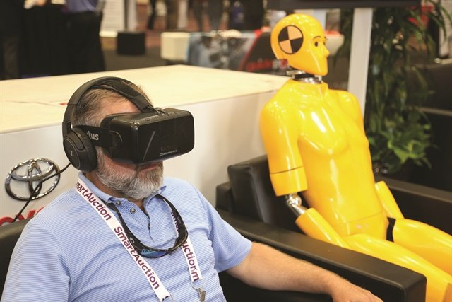 In the exhibit hall, Toyota's booth featured a virtual reality safety demonstration. Photo by Steve Reed.