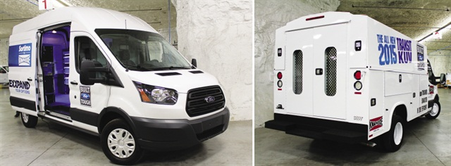 """In """"Subtropolis"""" limestone caves under Kansas City, Knapheide installs shelves, cabinets and racks in Ford's large Transit vans (left) produced in above-ground plant nearby. Meanwhile, Knapheide Utility Vehicle bodies are mounted on Transit cab-chassis vehicles (right) while smaller Transit Connect vans, produced in Spain, are brought in for upfitting."""