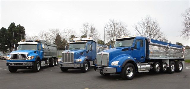 Heavy vocational trucks were judged in this year's ATD Commercial Truck of the Year competition: (From left) International WorkStar 7600, Peterbilt 567 and Kenworth T880. Previous competitions included more truck types. Photo by Tom Berg