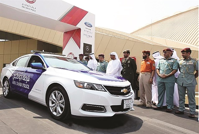 Abu Dhabi Police is the primary law enforcement agency in the Emirate of Abu Dhabi, one of the United Arab Emirates. All Abu Dhabi Police vehicles, including traffic patrols, rescue and assistance cars will be changed into blue and white colors.Pictured is a Chevrolet Impala in use as an Abu Dhabi patrol vehicle displaying the new blue and white color scheme that replaces the prior red and white color scheme. Photo: GM