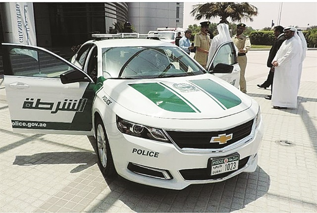 The Dubai police vehicles are painted with a white and dark green color scheme, with all blue emergency lights.The Dubai police force purchases Chevrolet, Toyota, Mazda, and Nissan models used for general duties and patrol vehicles. Photo: GM