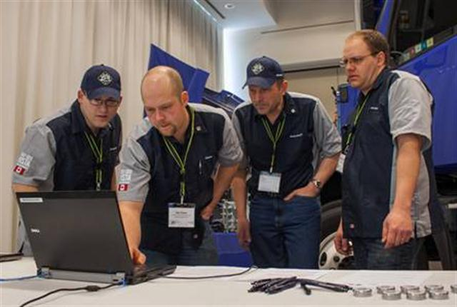 (from left) Tyler Kronebusch, Dan Orser, Clarence Oosterhoff and Matthew Giesbrecht from Babine Truck & Equipment of Prince George, Canada earned first place at the 2012-2013 Volvo Trucks North American VISTA World Championshp semifinals.
