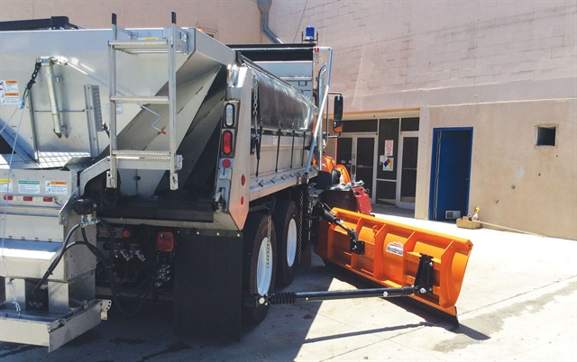 More lightweight upfits can allow a fleet to install more equipment. This plow truck, for example, features plows and a salt spreader. Photo courtesy of Auto Truck Group