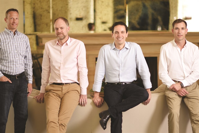 Verizon Connect's executive leadership team includes (L–R)Chief Marketing Officer Jay Jaffin, Chief Technology Officer Peter Mitchell, Chief Executive Officer Andrés Irlando, and Senior Vice President of Product Strategy Jason Koch.