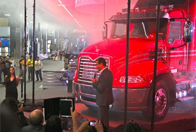 Mack unveils its Vision model for the Mexican marketatExpo Transporte on Tuesday.Photo: Evan Lockridge