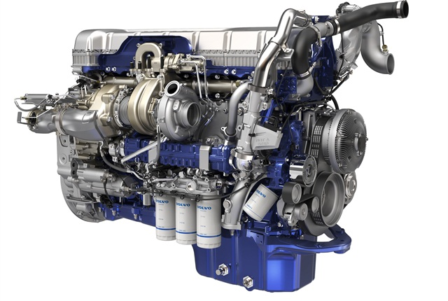 Turbo compounding includes a second turbocharger (to the left of the standard turbo), and a fluid coupling and geartrain to send power to the D13's crankshaft. Photos: Volvo Trucks NA