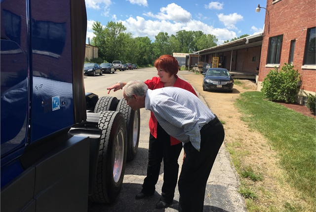 The senator experiences a pre-trip inspection. Photo courtesy Women in Trucking.