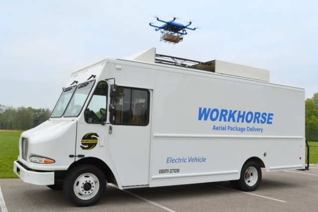 The HorseFly UAV Delivery system is a custom built, high efficiency octocopter-based delivery UAV that is fully integrated with Workhorse's line of electric/hybrid delivery trucks. (Photos courtesy of Workhorse)