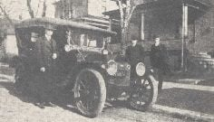 The Saunders family around the Moline Dreadnaught, the car that is given credit for launching the rent-a-car business. Pictured are, left to right, Harris Saunders, Warwick Saunders and Joe Saunders.