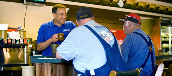 Midway's Joe Bechtold chats it up with customers in this