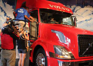 The interactive Volvo VNL 670 exhibit allows children to get behind the wheel and explore all aspects of the truck and its sleeper cab as they learn the importance of trucks in society.