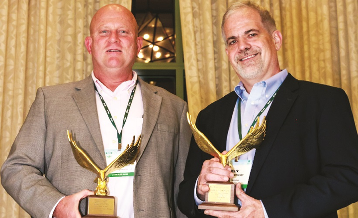 USIC Fleet and Capital Asset Manager Phil Samuelson (left) was named the 2018 Edward J. Bobit Professional Fleet Manager of the Year during the same award ceremony where Leuenberger was honored at the Automotive Fleet & Leasing Association's (AFLA) annual conference in Orlando, Fla., on Oct. 1, 2018.