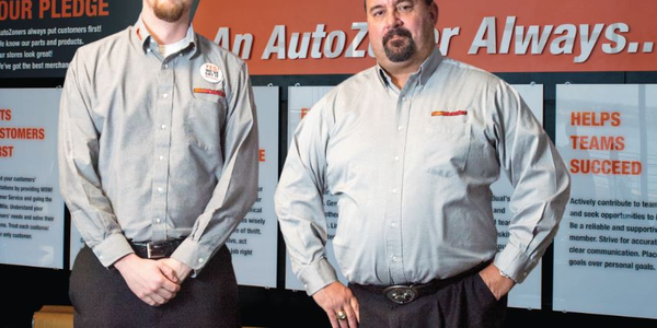 (Left to right) Alexander Sikes, fleet coordinator at AutoZone, and Clay Gaudet, fleet manager...