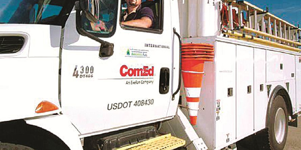 ComEd's green fleet includes biodiesel and hybrid vehicles, like this hybrid bucket truck.