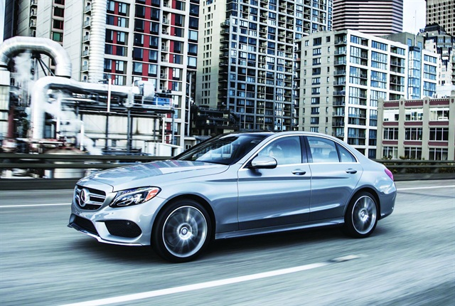 Assembled in the U.S., the 2015-MY C300 4MATIC model boasts improved fuel efficiency, with lightweighting being a key contributor. Photo courtesy of Mercedes-Benz.