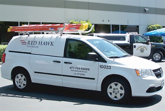 Photo of Red Hawk Fire & Security fleet vehicle courtesy of ARI.