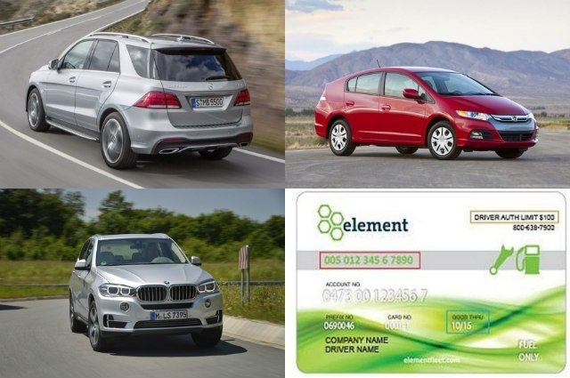 (Clockwise from l. to r.) Mercedes Benz's Euro-spec'd 2016 GLE; Consumers unfavored Honda's 2014 Insight; BMW introduced its 2016 X5 xDrive40e; and Element Fleet rebranding their fuel cards.