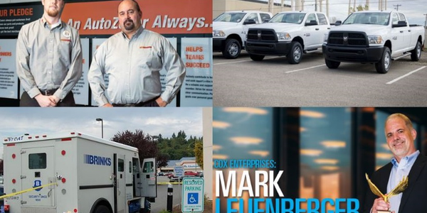 (clockwise l. to r.) Alexander Sikes and Clay Gaudet of AutoZone; fleet of pickup trucks; Mark...