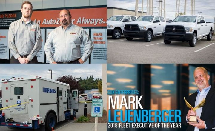 (clockwise l. to r.) Alexander Sikes and Clay Gaudet of AutoZone; fleet of pickup trucks; Mark Leuenberger, Cox Enterprises and 2018 Fleet Executive of the Year; and a Brinks fleet vehicle.
