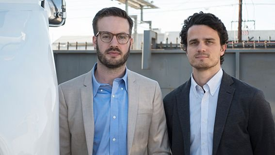 XOS cofounders Dakota Semler (left) and Gio Sordoni started the company after investigating alternative powertrains for their fleet operations.