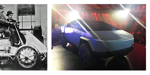 The old and the new: This all-electric Lohner-Porsche-Rennwagen from 1902 in Germany is...