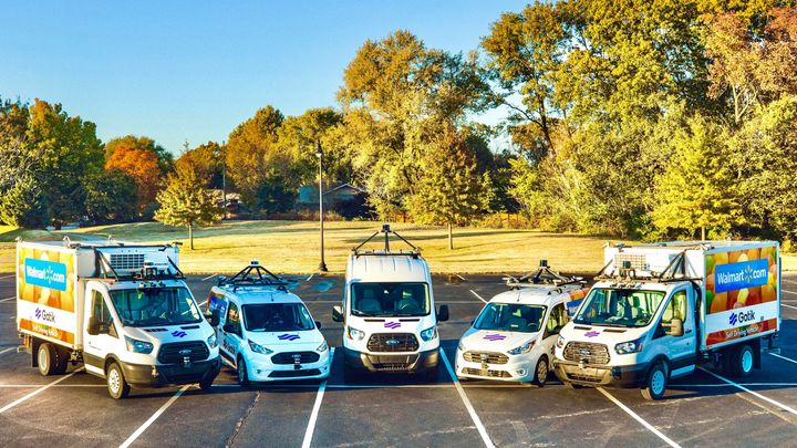 """The Gatik fleet completes autonomous middle-mile deliveries by doing a """"constrained Level 4"""" autonomous trip on fixed point-to-point-to-point routes instead of a geofenced radius. - Photo courtesy of Gatik."""