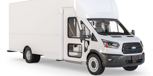 The Shyft Group's new Velocity F2, a Class 2 delivery van built on a Ford Transit chassis, was...