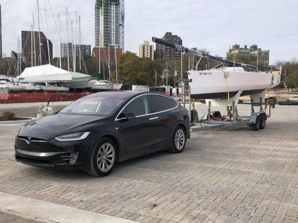 Adam Berger of Doering Fleet Management towed a sailboat with a Tesla Model X with a total trailer setup of 3,200 lbs. and 150 miles on the range estimator. After a 15-mile trip he arrived with 31 miles to spare. - Photo courtesy of Adam Berger.