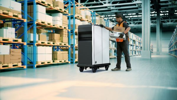 The EP1 is a motorized pallet that can carry up to 200 lbs. over short distances, such as from a truck at curbside to the front door or up an elevator. - Photo courtesy of GM.