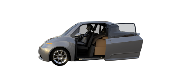 The delivery pod is designed to be more narrow than traditional vehicles for parking purposes, with side-mounted lights to find addresses at night and an LED display to alert delivery recipients. - Image courtesy of Indigo Technologies.